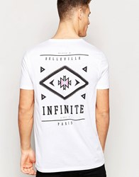 Asos Longline T Shirt With Aztec Chest And Back Print White