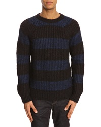 Closed Blue And Black Striped Mohair Sweater