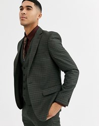 Rudie Heritage Check Skinny Fit Suit Jacket Green