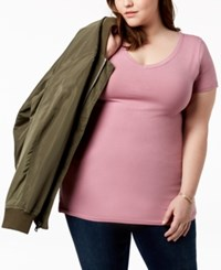 Planet Gold Trendy Plus Size Fitted V Neck T Shirt Mauve