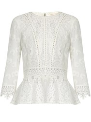Rebecca Taylor Floral Lace Silk Blend Chiffon Top White
