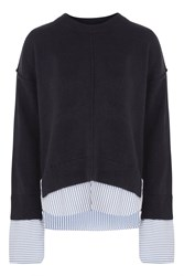 Topshop Supersoft Stripe Hybrid Knitted Top Navy Blue