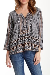 Angie Slit Crew Neck Printed Blouse Multi