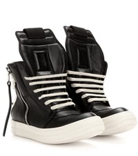 Rick Owens Leather High Top Sneakers Black