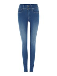 Salsa Secret Push In Skinny Jeans With Zip Detail Denim Mid Wash