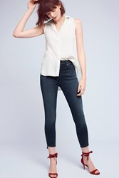 Anthropologie Mother Stunner High Rise High Low Slim Jeans Denim Dark