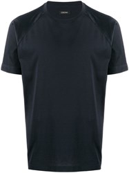 Z Zegna Short Sleeve Fitted T Shirt Blue