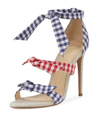 Alexandre Birman Mary Gingham Three Strap Sandal Blue Red Blue Red