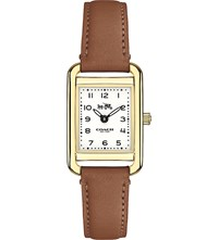 Coach 14502297 Thompson Gold Plated Stainless Steel And Leather Watch White