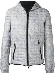Duvetica Floral Print Quilted Jacket Grey