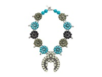 Gypsy Soule Squash Blossom Necklace White Gray Turquoise Black Necklace Multi