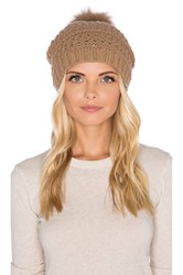 Diane Von Furstenberg Fox Fur Pom Cable Knit Hat Brown