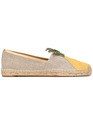 Tory Burch Tropical Espadrilles Women Cotton Leather Rubber 6.5 Nude Neutrals