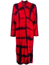 Masnada Knitted Tie Dye Cardi Coat Red