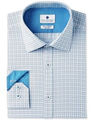 Ryan Seacrest Distinction Men's Slim Fit Stretch Non Iron Teal Check Dress Shirt Created For Macy's