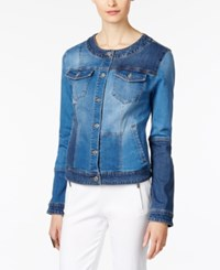 Inc International Concepts Patchwork Denim Trucker Jacket Only At Macy's Issal Wash