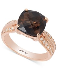 Le Vian Chocolate Quartz 3 1 4 Ct. T.W. And Diamond 1 6 Ct. T.W. Ring In 14K Rose Gold Brown