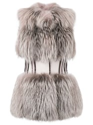 Gianfranco Ferre Vintage Cinched Waisted Gilet Women Silk Fox Fur Cashmere Wool 42 Nude Neutrals
