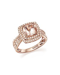 Bloomingdale's Morganite Statement Ring With Diamonds In 14K Rose Gold Pink White