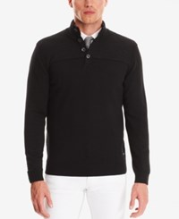 Hugo Boss Men's Button Troyer Wool Sweater Black
