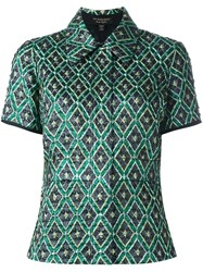 Burberry Geometric Print Buttoned Blouse Green