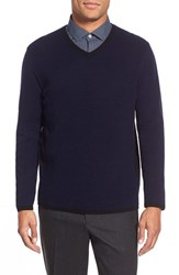 Men's Zachary Prell 'Edgware Road' Two Tone Wool Blend V Neck Sweater Navy