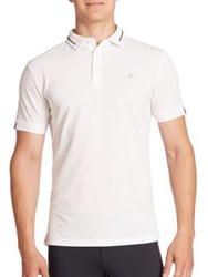 J. Lindeberg Contrast Piped Golf Pique Polo Shirt White