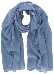 Mint Velvet Blue And Copper Flamingo Scarf Blue