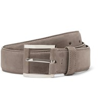 Loro Piana 3.5Cm Grey Suede Belt Gray