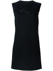 Ermanno Scervino Floral Applique Shift Dress Black