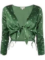 For Love And Lemons Tie Polka Dot Cropped Blouse 60