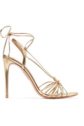Aquazzura Whisper Lace Up Metallic Leather Sandals Gold Usd