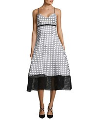 Tracy Reese Printed Mesh Trimmed Dress White Black