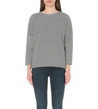 Reiss Tallie Striped Woven Top Night Navy Off
