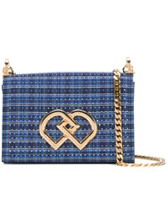 Dsquared2 Checked Shoulder Bag Women Cotton Crystal Metal One Size Blue