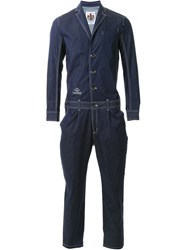 Education From Youngmachines Contrast Trim Single Breast Tapered Leg Jumpsuit Blue