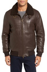 Vince Camuto Men's Genuine Shearling Collar Leather Bomber Jacket