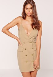 Missguided Strappy Gold Button Tux Detail Bodycon Dress Nude