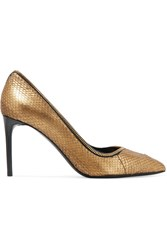 Tom Ford Zip Detailed Metallic Python Pumps Gold
