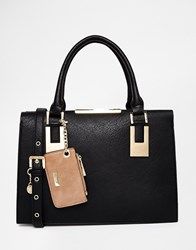 Dune Structured Handbag With Metail Detail Black