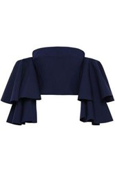 Solace London Woman Caia Cropped Off The Shoulder Ruffled Ponte Top Navy