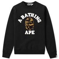 A Bathing Ape 1St Camo College Embroidery Crew Sweat Black
