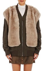 Helmut Lang Women's Faux Fur Vest Bomber Jacket Dark Green