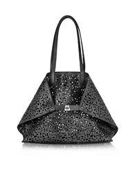 Akris Ai Medium Black Laser Cut Leather Tote Bag W Inner Canvas Tote