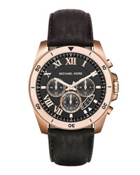 Michael Michael Kors 44Mm Brecken Chronograph Watch W Leather Strap Rose Gold Black