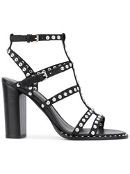 Ash Studded Gladiator Sandals Women Leather 39 Black