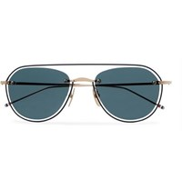 Thom Browne Round Frame Gold Tone And Enamel Sunglasses Black