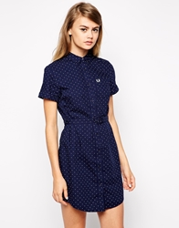 Fred Perry Spotty Shirt Dress Carbonblue