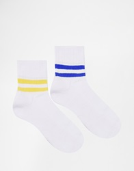 Asos 2 Pack Ankle Length Sports Style Socks With Stripes White
