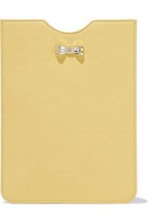 Red Valentino Bow Embellished Leather Tablet Case Pastel Yellow